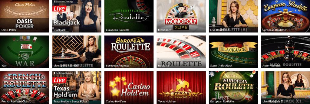 Power Casino Tischspiele